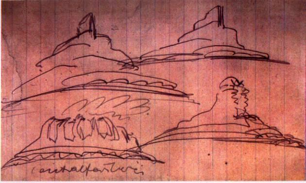 Skizze zum Einsteinturm von Erich Mendelsohn